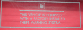 1982 1983 1984 1985 Cadillac Eldorado Theft Warning Decal REPRODUCTION