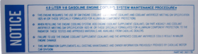 1990 Cadillac Engine Cooling 4.9 Liter Motor Decal REPRODUCTION
