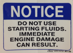 1982 1983 1984 1985 Cadillac Diesel Starting Notice Decal Digital Electronic Fuel Injection REPRODUCTION