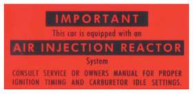 1966 1967 Cadillac All California Cars Only Air Injection Reactor Decal REPRODUCTION