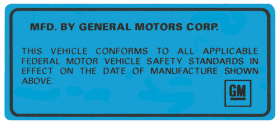 1969 1970 1971 1972 1973 1974  Cadillac Vehicle Certification Decal and Overlay REPRODUCTION