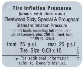 1967 Cadillac Fleetwood Brougham Models Tire Pressure Decal REPRODUCTION
