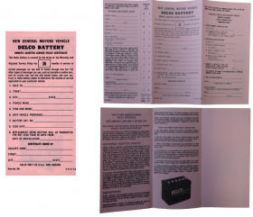 1965 1966 1967 1968 Cadillac Delco Battery Owners Certificate REPRODUCTION