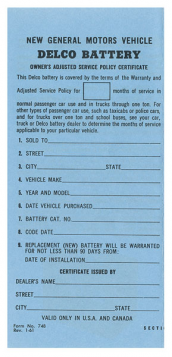 1961 1962 1963 1964 Cadillac Delco Battery Owners Certificate REPRODUCTION