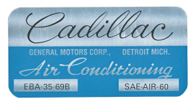 1970 Cadillac Cadillac (Coupe Deville Only) Air Conditioning Evaporator Box Decal  REPRODUCTION