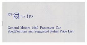 1960 GM Passenger Car Dealer Price Booklet 8 Pages Includes Cadillac Reproduction