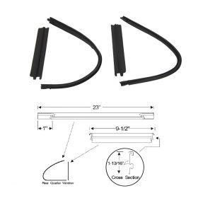 1950 1951 1952 1953 Cadillac Series 60 Special and Series 62 4-Door Sedan Rear Quarter Vent Window Rubber Weatherstrip Set (4 Pieces) REPRODUCTION Free Shipping In The USA