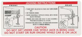 1970 Cadillac Eldorado Jacking Instructions Decal REPRODUCTION