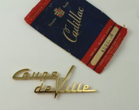 1949 1950 1951 1952 1953 Cadillac Coupe deVille Rear Pillar Emblem NOS Free Shipping In The USA