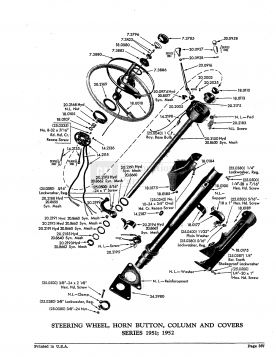 1951 1952 Cadillac Steering Column and Wheel Exploded View