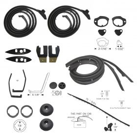 1959 Cadillac Series 62 and DeVille 2-Door Hardtop Deluxe Rubber Weatherstrip Kit (171 Pieces) REPRODUCTION Free Shipping In The USA
