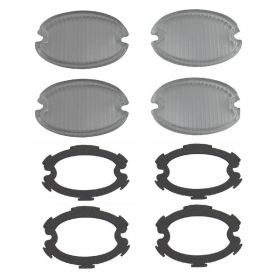 1959 Cadillac Glass Fog and Turn Signal Light Lens With Gaskets Set (8 Pieces) REPRODUCTION Free Shipping In The USA