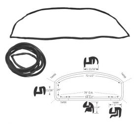 1959 1960 Cadillac 4-Door 4-Window Rear Window Rubber Weatherstrip (Panoramic Window) REPRODUCTION Free Shipping In The USA