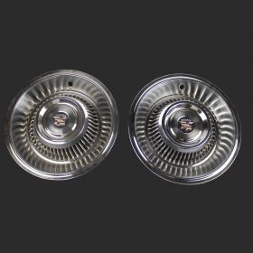 1963 1964 Cadillac Wheel Cover Hubcaps 1 Pair With New Reproduction Emblems USED