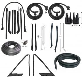 1965 Cadillac 2-Door Convertible Advanced Rubber Weatherstrip Kit (21 Pieces)(For Front Bow Attachment) REPRODUCTION Free Shipping In The USA