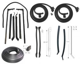 1965 Cadillac 2-Door Convertible Basic Rubber Weatherstrip Kit (14 Pieces) (For Side Rail Attachment) REPRODUCTION Free Shipping In The USA