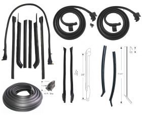 1965 Cadillac 2-Door Convertible Basic Rubber Weatherstrip Kit (14 Pieces) Style 2 (See Details) REPRODUCTION Free Shipping In The USA