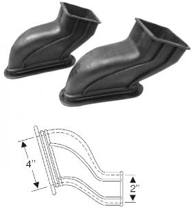1949 Cadillac (EXCEPT Series 75 Limousine) Black Rubber Defroster Ducts 1 Pair REPRODUCTION Free Shipping In The USA