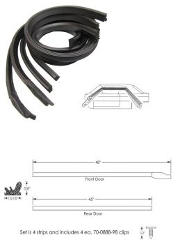 1965 1966 Cadillac Calais and Deville 4-Door Pillared Sedan Roof Rail Rubber Weatherstrip Set (4 Pieces) REPRODUCTION Free Shipping In The USA
