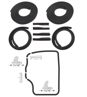 1955 1956 Cadillac Series 60 Special Rear Door Rubber Weatherstrip Kit (8 Pieces) REPRODUCTION Free Shipping In The USA