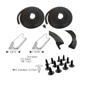 1954 Cadillac 4-Door Sedan Front Door Rubber Weatherstrips (Glue In Type) 1 Pair REPRODUCTION Free Shipping In The USA