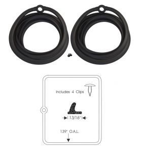 1954 Cadillac 4-Door Sedan Rear Door Rubber Weatherstrips 1 Pair REPRODUCTION Free Shipping In The USA