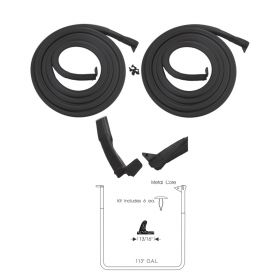 1956 Cadillac Sedan Deville Front Door Rubber Weatherstrips With Clips 1 Pair REPRODUCTION Free Shipping In The USA