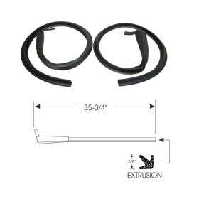 1952 1953 Cadillac 2-Door (See Details) Front Door Lock Pillar Rubber Weatherstrips With Molded Ends 1 Pair REPRODUCTION Free Shipping In The USA