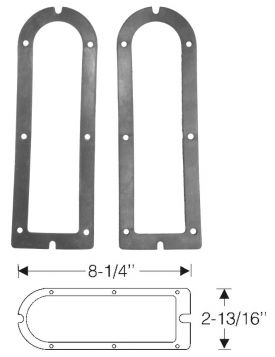 1942 1946 1947 Cadillac (EXCEPT Series 75 Limousine and Commercial Chassis) Tail Light Rubber Housing Gaskets 1 Pair REPRODUCTION Free Shipping In The USA