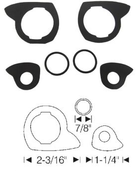 1954 1955 1956 Cadillac 2-Door Coupe and Convertible Outside Door Handle Gasket Set (6 Pieces) REPRODUCTION Free Shipping In The USA