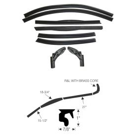 1953 Cadillac Eldorado Convertible Roof Rail Weatherstrip Kit (8 Piece) REPRODUCTION Free Shipping In The USA