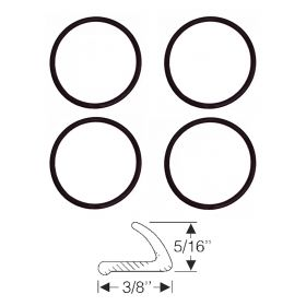 1958 Cadillac Outer Headlight Rim Rubber Seal Set (4 Pieces) REPRODUCTION Free Shipping In The USA