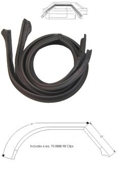 1967 1968 Cadillac Calais and Deville 4-Door Hardtop (No Pillar) Roof Rail Rubber Weatherstrips 1 Pair REPRODUCTION Free Shipping In The USA