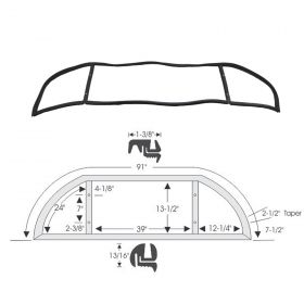 1950 1951 1952 Cadillac 2-Door Hardtop Back Window Rubber Weatherstrip REPRODUCTION Free Shipping In The USA