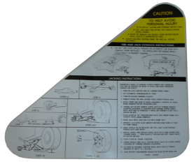 1979 1980 1981 1982 1983 1984 1985 Cadillac Eldorado Jacking Instructions Decal REPRODUCTION