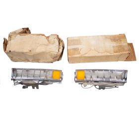 1971 1972 Cadillac (EXCEPT Eldorado) Side Cornering Lamp Light Lens Complete Assemblies 1 Pair NOS Free Shipping In The USA