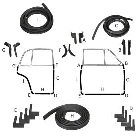 1941 Cadillac Series 60 Special Front and Rear Door Rubber Weatherstrip Kit (18 Pieces) REPRODUCTION Free Shipping In The USA