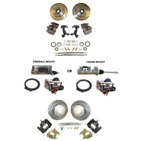 1959 1960 1961 1962 1963 1964 1965 1966 1967 1968 Cadillac Drilled and Slotted Rotor Front and Rear Big Brake Conversion Kit With Electronic High Power Brake Booster Master Cylinder REPRODUCTION