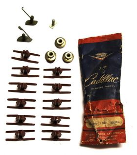 1957 1958 Cadillac (See Details) Rear Blister Bead 1/4 Molding Clips Set of 17 Pieces NOS Free Shipping In The USA