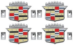 1974 1975 1976 1977 1978 Cadillac Eldorado Wheel Cover Crest Emblems Set (4 Pieces) REPRODUCTION Free Shipping In The USA