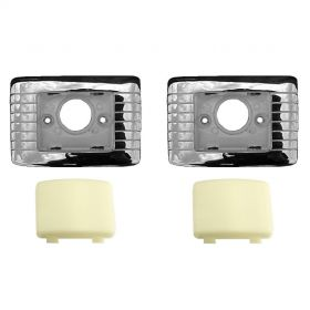 1961 1962 Cadillac Convertible Rear Quarter Interior Courtesy Lenses With Housing Bezels Set of 4 Pieces REPRODUCTION Free Shipping In The USA