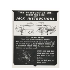 1958 Cadillac (EXCEPT Eldorado Biarritz) Jacking Instructions Decal REPRODUCTION
