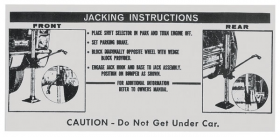 1967 Cadillac (EXCEPT Eldorado) Jacking Instructions Decal REPRODUCTION