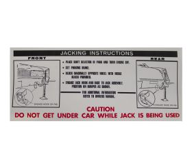 1967 Cadillac Eldorado Jacking Instructions Decal REPRODUCTION