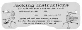 1963 Cadillac Jacking Instructions Decal REPRODUCTION