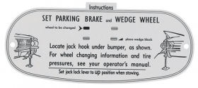 1961 Cadillac Jacking Instructions Decal REPRODUCTION