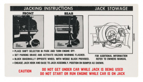 1972 Cadillac (EXCEPT Eldorado) Jacking Instructions Decal REPRODUCTION
