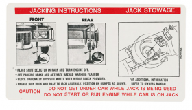 1972 Cadillac Eldorado Jacking Instructions Decal REPRODUCTION