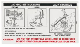 1970 Cadillac (EXCEPT Eldorado) Jacking Instructions Decal REPRODUCTION