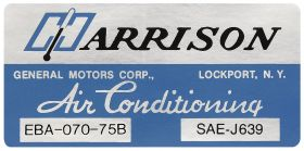 1975 Cadillac (Except Seville) Harrison Air Conditioning Evaporator Box Decal  REPRODUCTION